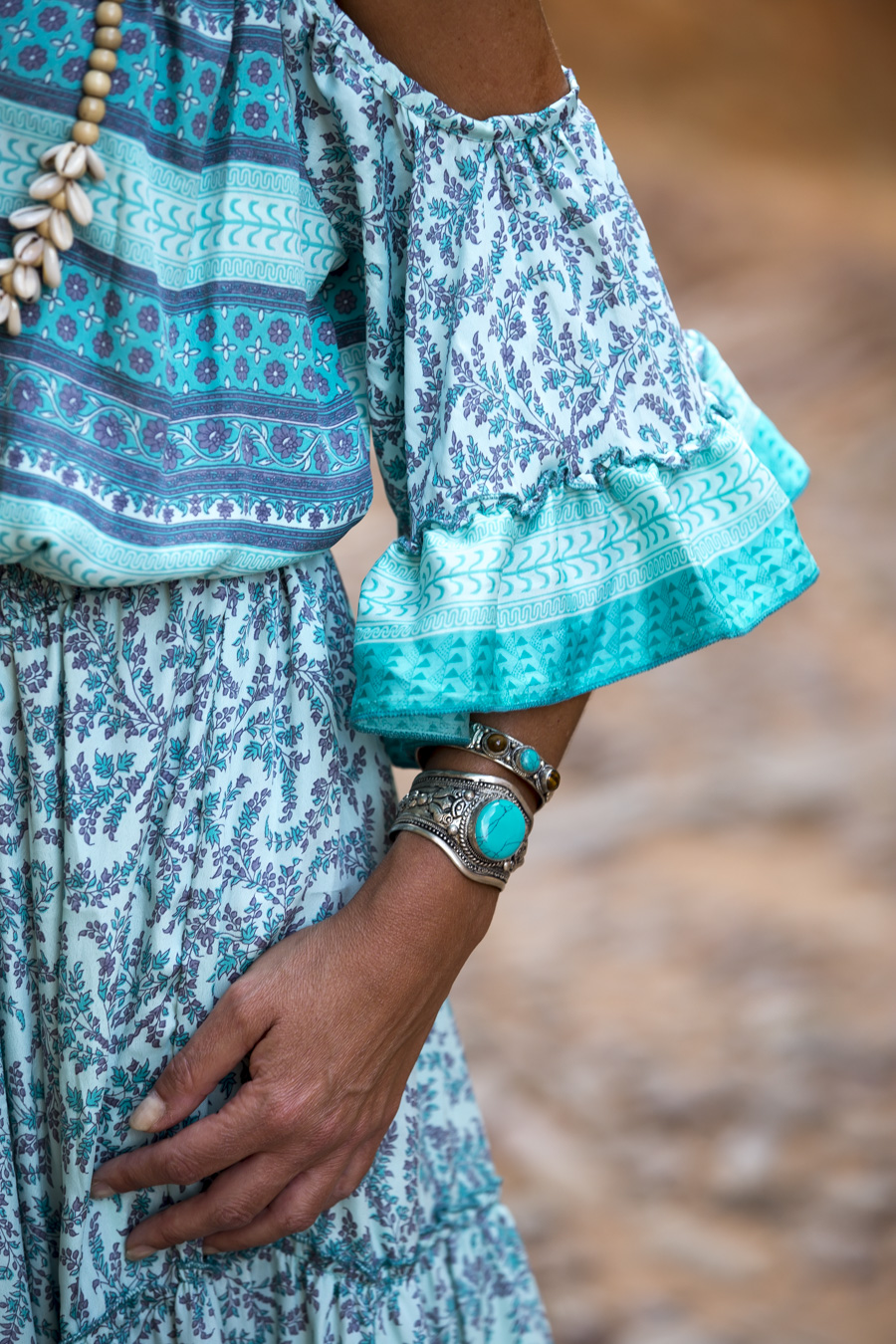 Bohemian turquoise dress