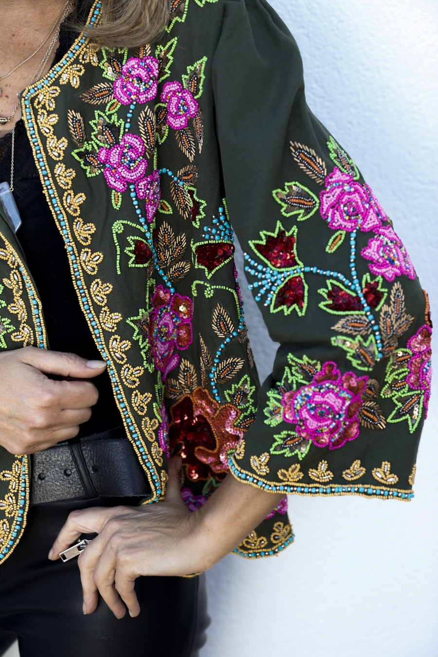 Green embroidered jacket