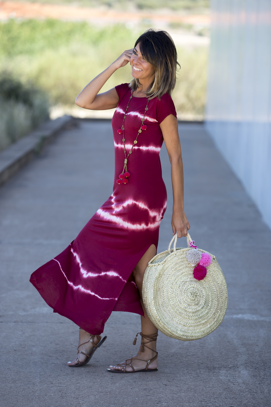 Burgundy tie dye dress